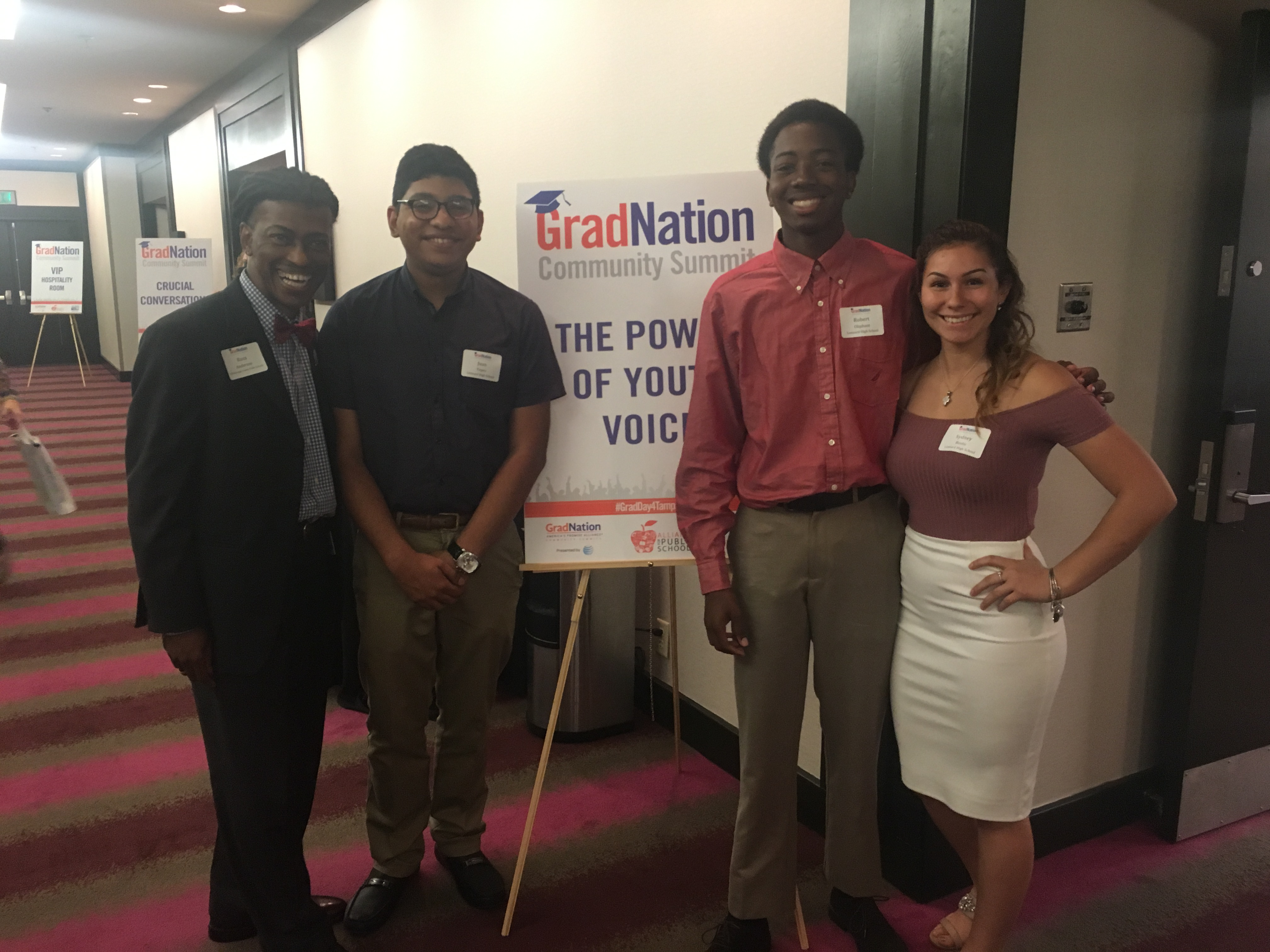 Student facilitators pose outside Power of Youth Voice session