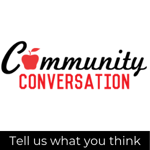 Community Conversation logo; tell us what you think