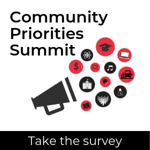 Community Priorities logo; take the survey